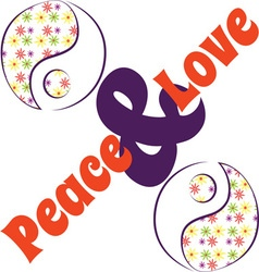 Yin Yang Love Peace vector image vector image