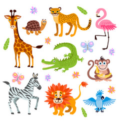cute jungle and safari animals set for kids vector image