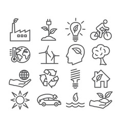 ecology and recycling line icons vector image