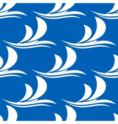 Yacht sailing on a wave seamless pattern vector image vector image