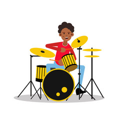young black mucisian man playing on drum kit vector image vector image