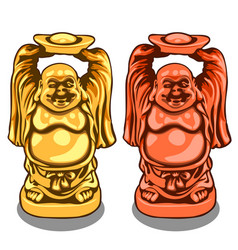 gold and bronze figure of indian deity vector image vector image