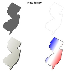 New jersey outline map set vector