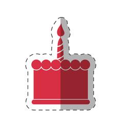 red birthday cake sweet vector image
