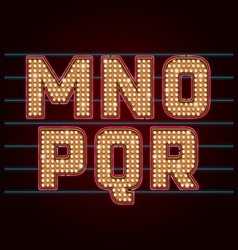 Retro light bulb font from m to r vector
