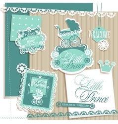 Scrapbook Design Elements Baby Boy Set vector image