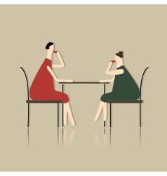 Women drink tea in cafe sketch for your design vector image