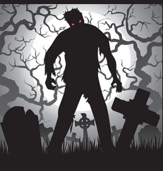 zombie and tombstones vector image