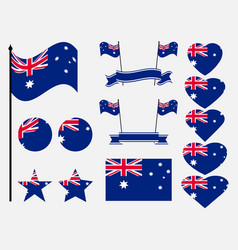australia flag set collection of symbols flag vector image vector image