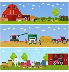 banners of village life flat design vector image