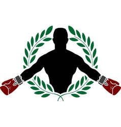 boxer and laurel wreath vector image