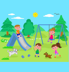 kids playing at the park vector image
