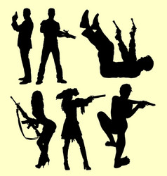 People using gun silhouette vector