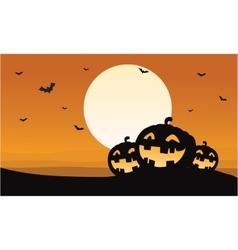 Silhouette of pumpkins and bat Halloween vector image vector image