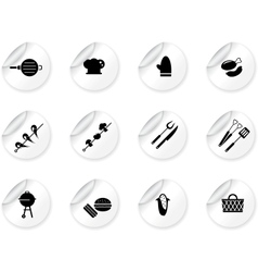 Stickers with grilling icons vector image vector image