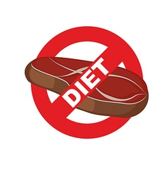 Stop meat Banning food mark Steak Logo for diet vector image vector image