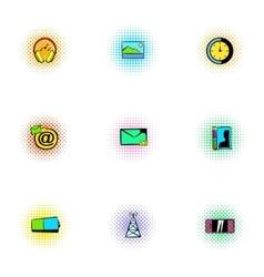 Web communication icons set pop-art style vector image vector image