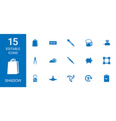 15 shadow icons vector image