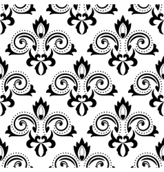 Abstract black floral seamless pattern vector image