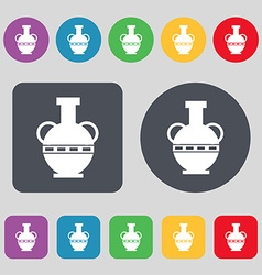 Amphora icon sign A set of 12 colored buttons Flat vector image