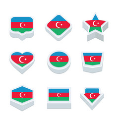 Azerbaijan flags icons and button set nine styles vector