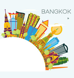 bangkok thailand skyline with color landmarks vector image