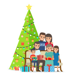 Big family gathered near christmas tree with gifts vector