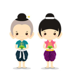 Boy and Girl in Loy Krathong Festival vector