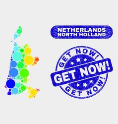 bright mosaic north holland map and distress get vector image
