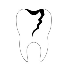Broken tooth with root in black silhouette vector