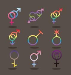 Bundle nine gender symbols sexual vector