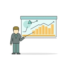 Businessman making a presentation near whiteboard vector