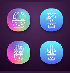Cactuses app icons set vector