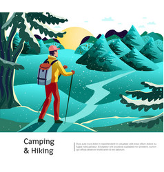 camping hiking background poster vector image