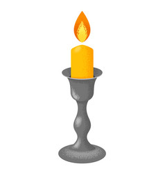 candelabrum with flaming candle vector image