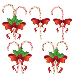 Candy Canes with Bow Set vector