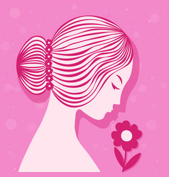 card beauty and fashion on 8 march girl with vector image