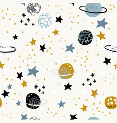 cartoon space themed background cute planets moon vector image