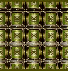 checkered ornamental geometric 3d greek seamless vector image