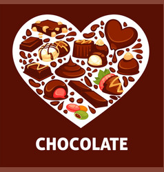 Chocolate candy and comfit heart poster vector