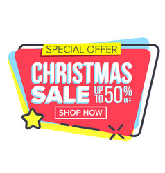 christmas big sale sticker template vector image
