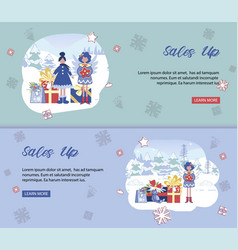 christmas sales up banners set design templates vector image
