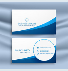 clean blue wavy business card design vector image