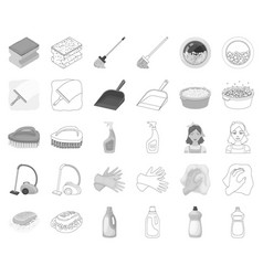 Cleaning and maid monochromeoutline icons in set vector