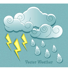 Cloud droplets and lightning vector image
