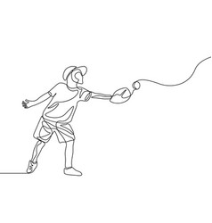 continuous one line kid catch ball in glove vector image