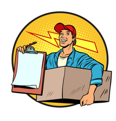 courier delivery of parcels and mail postman vector image