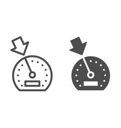 Cruise control line and glyph icon dashboard vector
