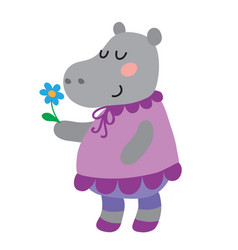 Cute cartoon hippopotamus vector