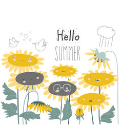 cute cartoon smiling sunflowers flowers vector image